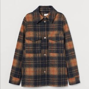 H&M Rust Plaid Shirt Jacket Small Shacket